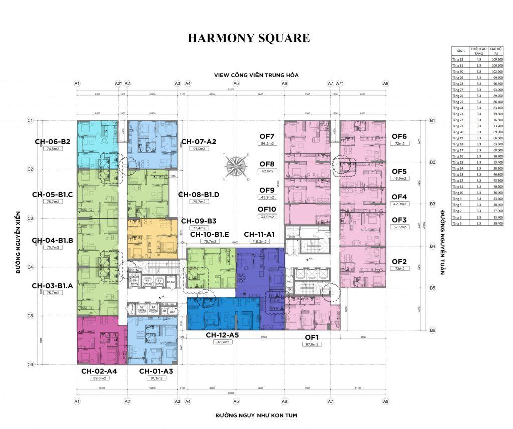 mặt bằng chung cư harmony square