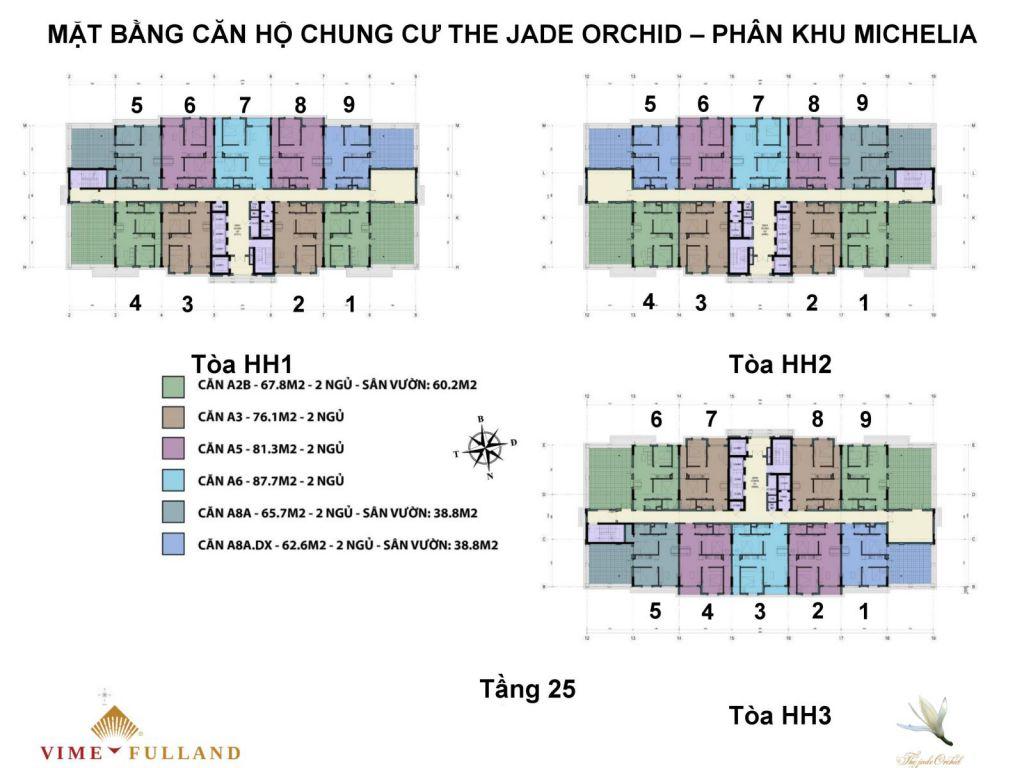 mặt bằng chung cư the jade orchid tầng 25