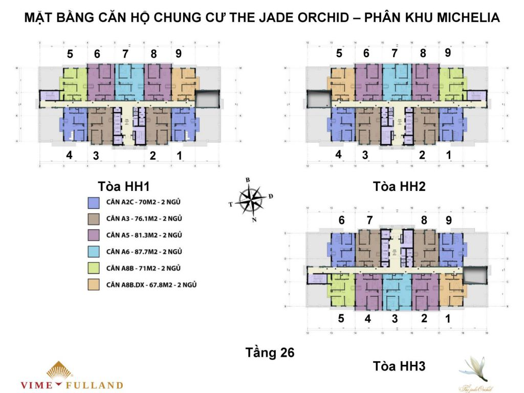 mặt bằng chung cư the jade orchid tầng 26