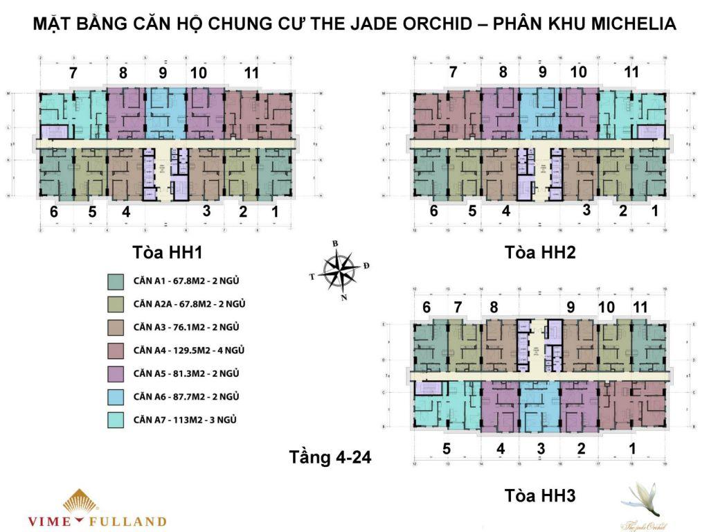 mặt bằng chung cư the jade orchid tầng 4-24