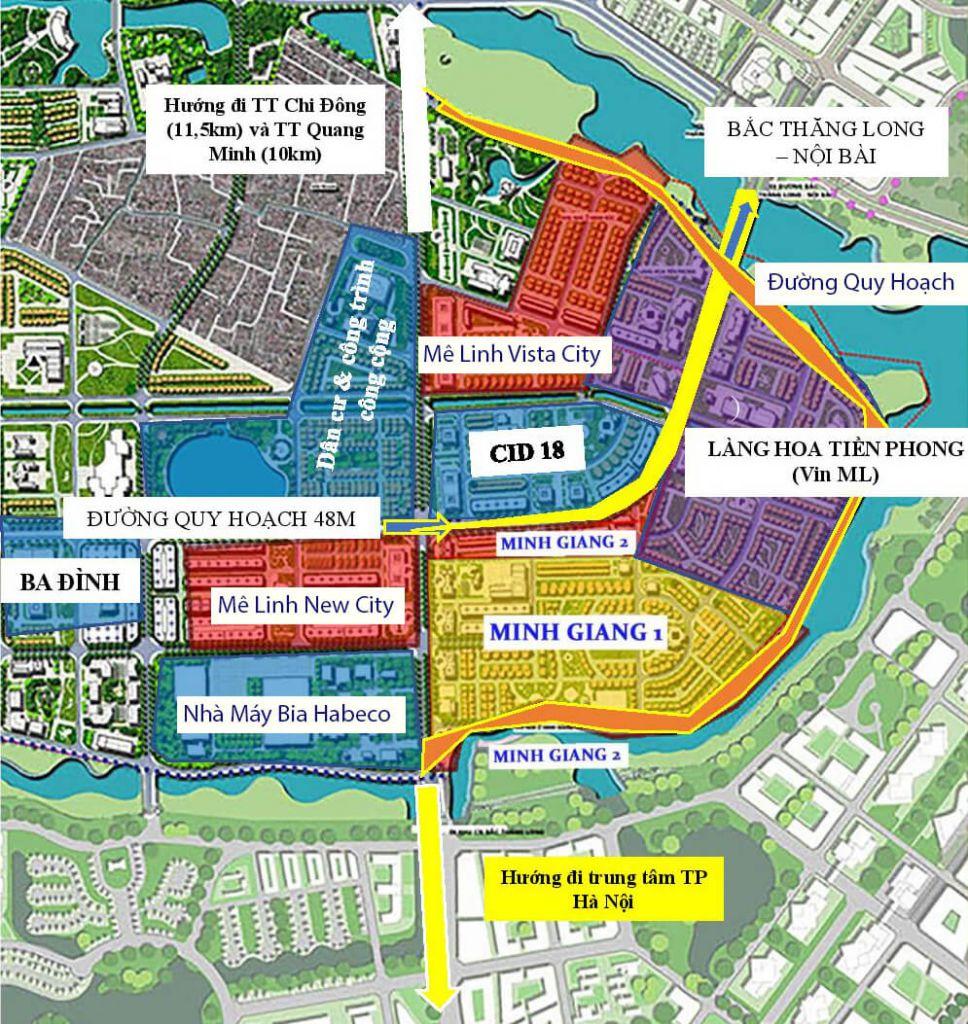 vị trí dự án mê linh vista city